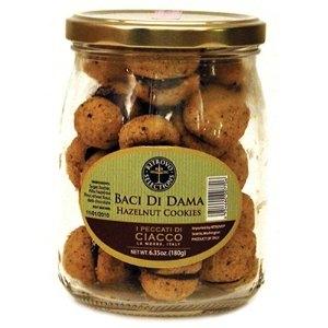 Baci di Dama Filled Hazelnut Cookies in Jar